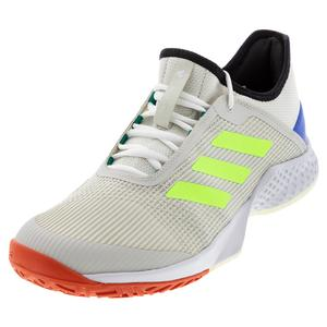 Men`s Adizero Club 2 Tennis Shoes Orbit Gray and Signal Green