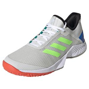 Juniors` Adizero Club 2 Tennis Shoes Orbit Gray and Signal Green