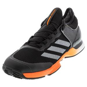 Men`s Adizero Ubersonic 2 Clay Tennis Shoes Core Black and True Orange
