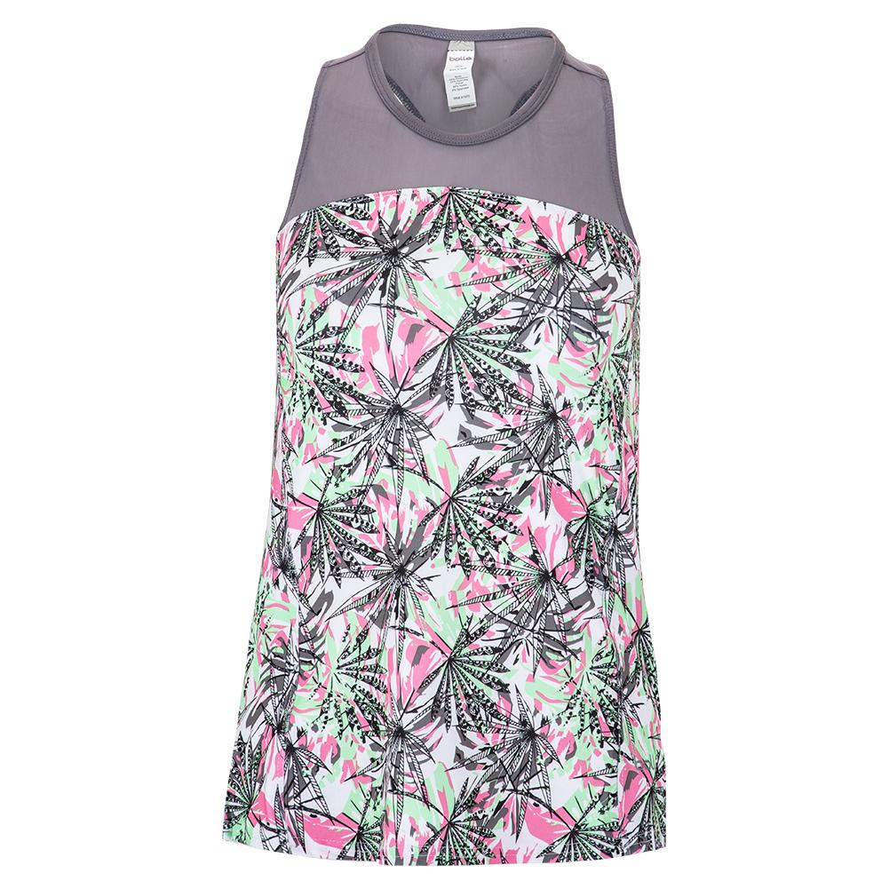 Women's Tropical Oasis Tennis Tank Print And Ash