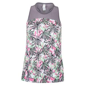 Women`s Tropical Oasis Tennis Tank Print and Ash