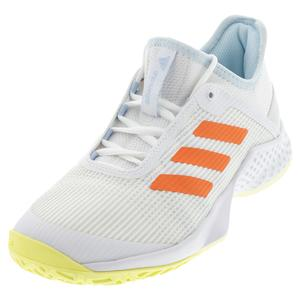 Women`s Adizero Club 2 Tennis Shoes White and Amber Tint