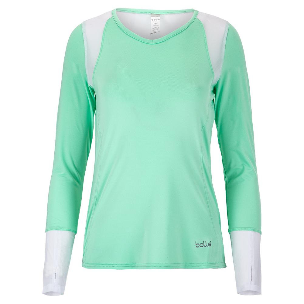 Women's Tropical Oasis Tennis Long Sleeve Mint And White