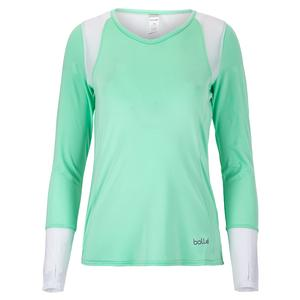 Women`s Tropical Oasis Tennis Long Sleeve Mint and White