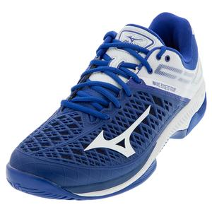 Men`s Wave Exceed Tour 4 AC Tennis Shoes True Blue and White