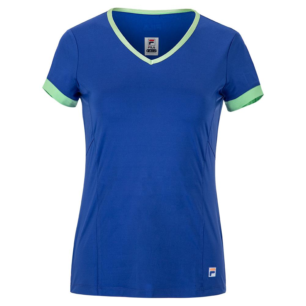 Women's Colorful Play Short Sleeve Tennis V- Neck
