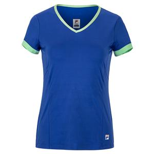 Women`s Colorful Play Short Sleeve Tennis V-Neck