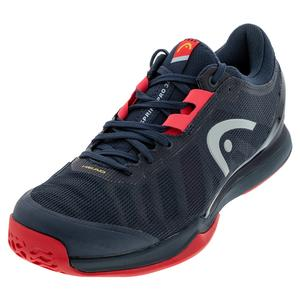 Men`s Sprint Pro 3.0 Tennis Shoes Midnight Navy and Neon Red