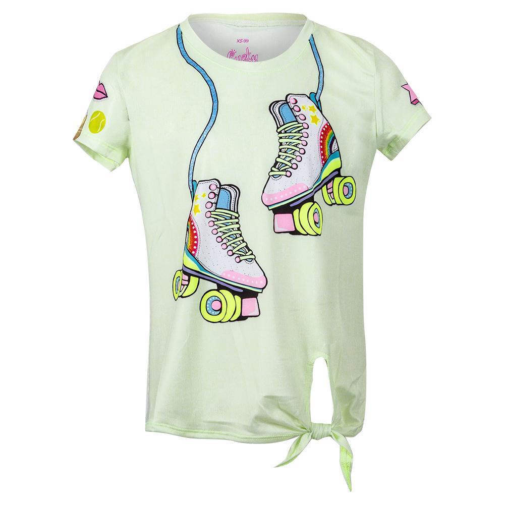 Girls ` Print Tie Knot Tennis Top
