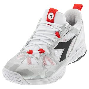 Women`s Speed Blushield Fly 2 AG Tennis Shoes White and Lively Hibiscus Red