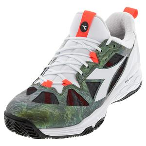 Men`s Speed Blushield Fly 2 Clay Tennis Shoes White and Olivine