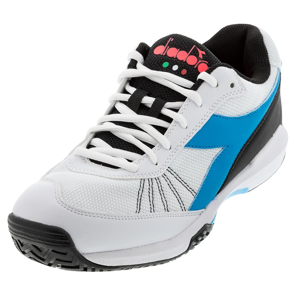 Juniors's.Challenge 3 Ag Tennis Shoes White And Blue Fluo