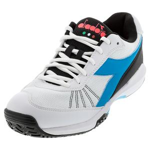 Juniors` S. Challenge 3 AG Tennis Shoes White and Blue Fluo