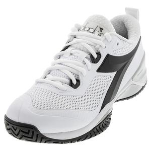 Men`s Speed Blushield 4 Clay Tennis Shoes White and Black