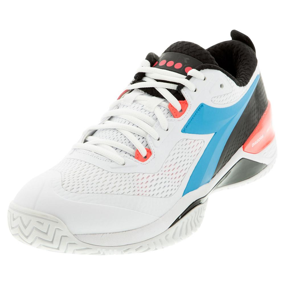 Men's Speed Blushield 4 Ag Tennis Shoes White And Blue Fluo