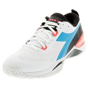 Men`s Speed Blushield 4 AG Tennis Shoes White and Blue Fluo
