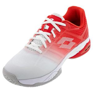 Men`s Mirage 300 II Speed Tennis Shoes All White and Red Poppy