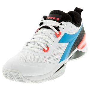 Men`s Speed Blushield 4 Clay Tennis Shoes White and Blue Fluo