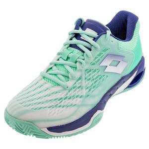 Women`s Mirage 100 Speed Clay Tennis Shoes All White and Sodalite Blue