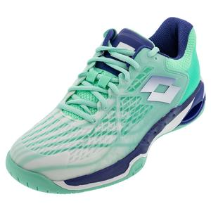 Women`s Mirage 100 Speed Tennis Shoes All White and Sodalite Blue