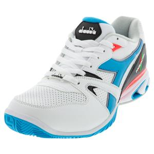 Men`s S Star K Duratech AG Tennis Shoes White and Blue Fluo