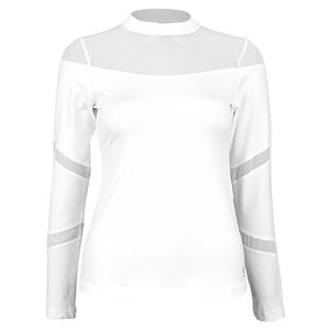 Women`s Long Sleeve Tennis Top White and Diamond
