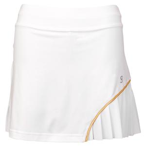 Women`s 14 Inch Tennis Skort White and Gold Trim