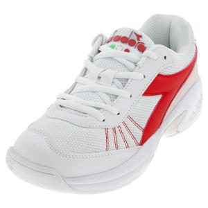 Juniors` S. Challenge 3 Tennis Shoes White and Lively Hibiscus Red