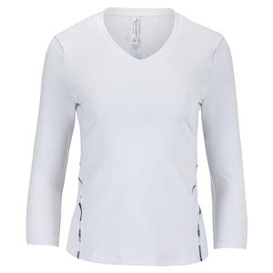 Women`s Claire 3/4 Sleeve Tennis V Neck