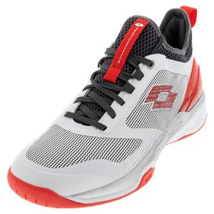 Men`s Mirage 200 Speed Tennis Shoes All White and Red Poppy