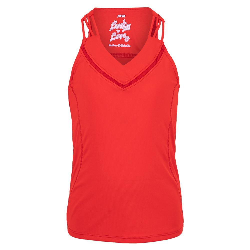 Girls ` Entwine Racerback Tennis Tank Ruby Red