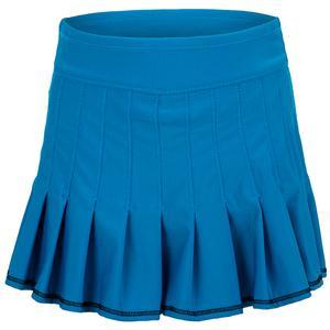 Girls` Mini Retro Pleated Tennis Skort Paradise Blue
