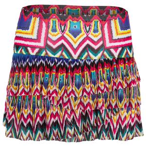 Women`s Psychedelic Mesh Pleated Scallop Tennis Skirt
