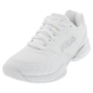 Women`s Volley Zone Pickleball Shoes White and Metallic Silver