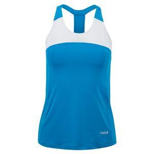Women`s Blue Bayou Tennis Tank Peacock Blue and White