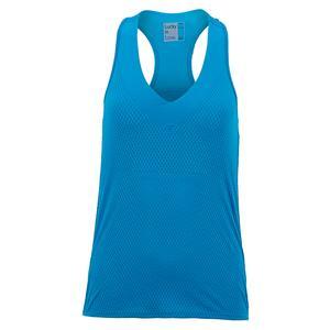 Women`s Wavy V-Neck Tennis Tank with Bra Paradise Blue