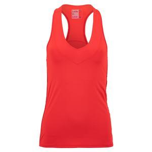 Women`s V-Neck Tennis Tank with Bra Red