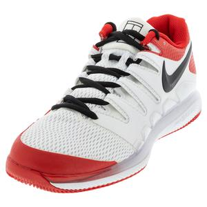 Men`s Air Zoom Vapor X Tennis Shoes White and University Red