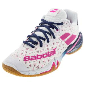 Women`s Shadow Tour Badminton Shoes White and Rhodamine Red