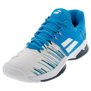 Men`s Propulse Fury All Court Tennis Shoes White and Blue Aster