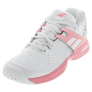 Juniors` Propulse All Court Tennis Shoes White and Geranium Pink