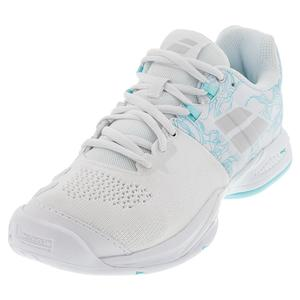 Women`s Propulse Blast All Court Tennis Shoes White and Blue Stream