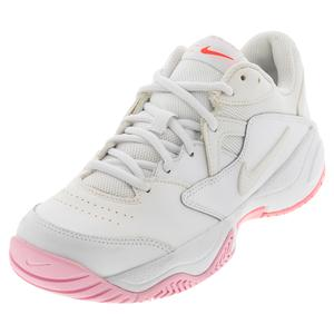 Women`s Court Lite 2 Tennis Shoes White and Laser Crimson