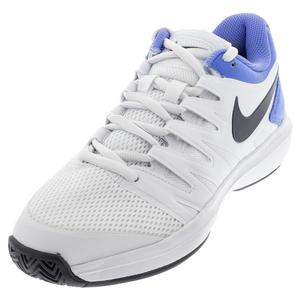Men`s Air Zoom Prestige Tennis Shoes White and Royal Pulse