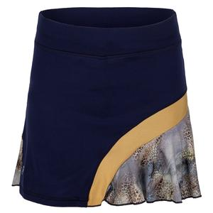 Women`s 15 Inch Tennis Skort Navy and Wild Lapis