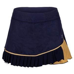 Women`s 13 Inch Tennis Skort Navy and Gold