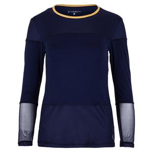 Women`s Long Sleeve Tennis Top Navy