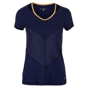 Women`s Short Sleeve Tennis Top Navy