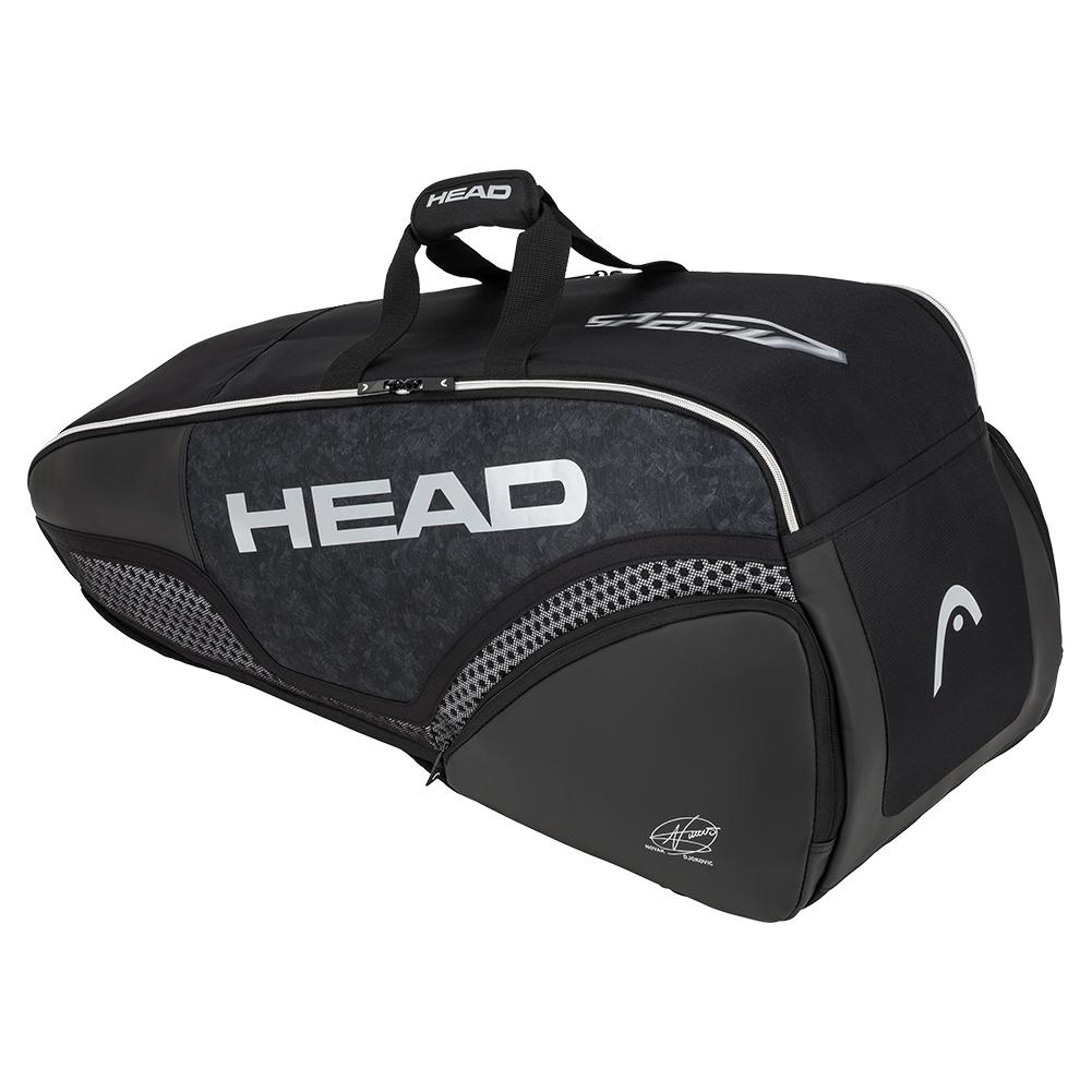 Djokovic 6r Combi Tennis Bag Black And White