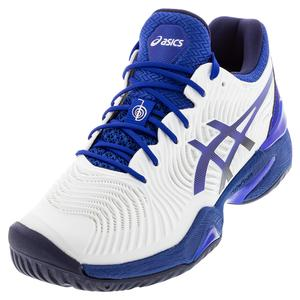 Men`s Court FF Novak Tennis Shoes White and ASICS Blue